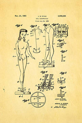 Ryan Barbie Doll Patent Art 1961 Art Print
