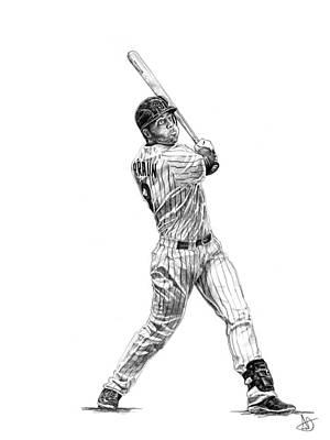 Milwaukee Brewers Drawing - Ryan Braun by Joshua Sooter
