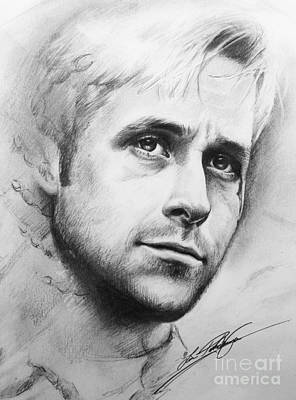 Drawing - Ryan Gosling by Lin Petershagen