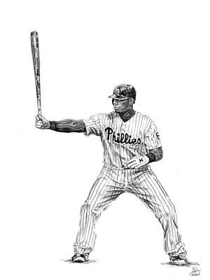 Baseball. Philadelphia Phillies Drawing - Ryan Howard by Joshua Sooter