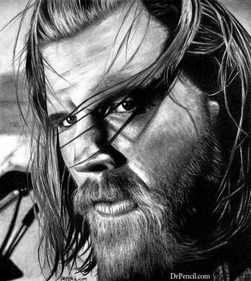 Opie Drawing - Ryan Hurst As Opie by Rick Fortson