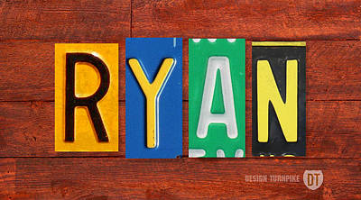 Usa Mixed Media - Ryan License Plate Name Sign Fun Kid Room Decor. by Design Turnpike