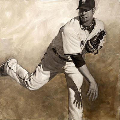 Pitcher Painting - Ryan Vogelsong Perseverence by Darren Kerr