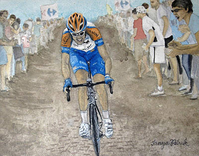 Canadian Sports Painting - Ryder Hesjedal On Cobbles by Tanya Petruk