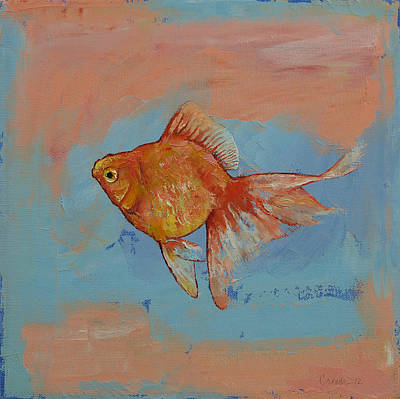 Tropical Fish Painting - Ryukin Goldfish by Michael Creese