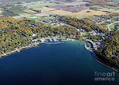 Photograph - S-073 Sister Bay Harbor In Fall Door Co. Wi by Bill Lang