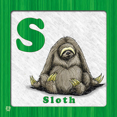 Sloth Drawing - S For Sloth by Jason Meents