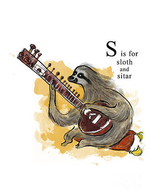 S Is For Sloth Art Print by Sean Hagan