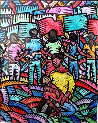 Painting - Sa Likod Ng Piketlayn Behind The Picketline by Marconi Calindas