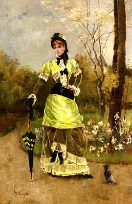 Dog In Landscape Digital Art - Sa Majeste La Parisienne by Alfred Stevens