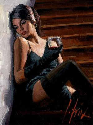Saba Painting - Saba On The Stairs White Wall by Fabian Perez