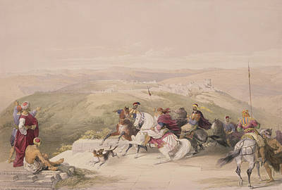 Horseman Drawing - Sabaste  Ancient Samaria by David Roberts