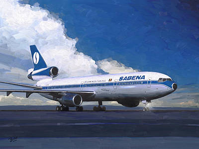 Briex Painting - Sabena Dc-10 At Kinshasa by Nop Briex