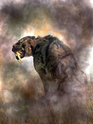 Prehistoric Digital Art - Sabertooth In Fog by Daniel Eskridge