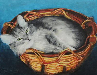 Sabrina In Her Basket Art Print by Jeanne Fischer