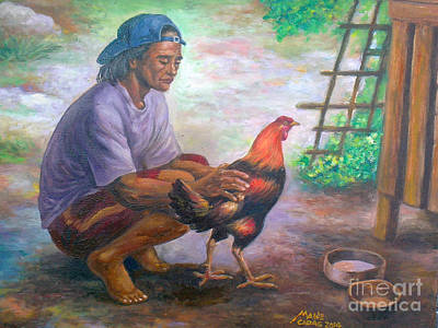 Painting - sabungerong jologs-repro from Amorsolo by Manuel Cadag