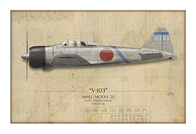 Group Digital Art - Saburo Sakai A6m Zero - Map Background by Craig Tinder