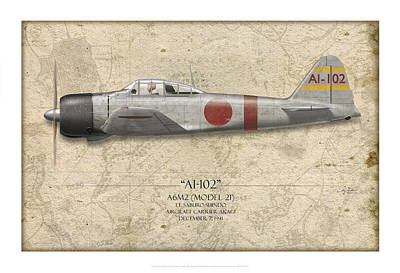 Saburo Shindo A6m Zero - Map Background Art Print