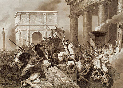 Sack Of Rome By The Visigoths Led By Alaric I In 410 Art Print by Bridgeman Images