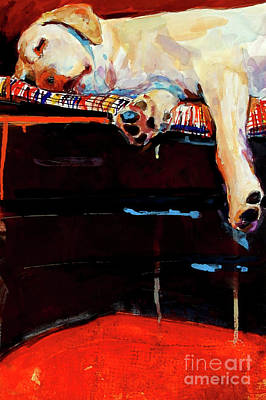 Yellow Labrador Retriever Painting - Sacked by Molly Poole