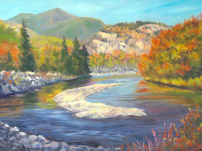 Saco River And Cathedral Ledge, North Conway, Nh Print by Elaine Farmer