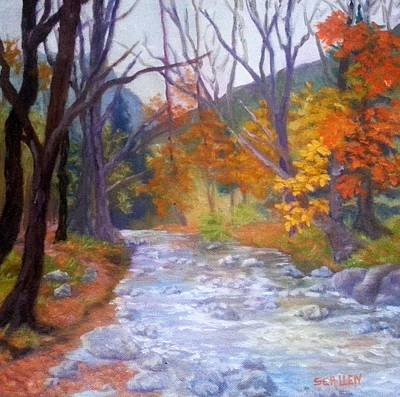 Babbling Brook Painting - Saco Creek by Sharon E Allen