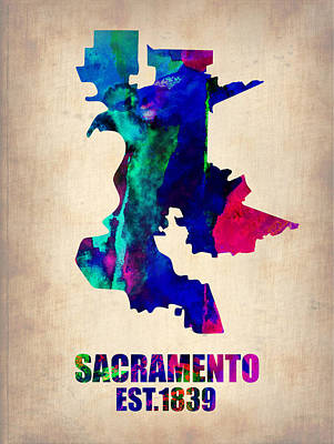 Modern Poster Painting - Sacramento Watercolor Map by Naxart Studio