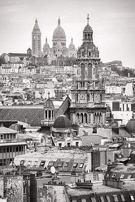 Photograph - Sacre Ceour In Paris Black And White by For Ninety One Days