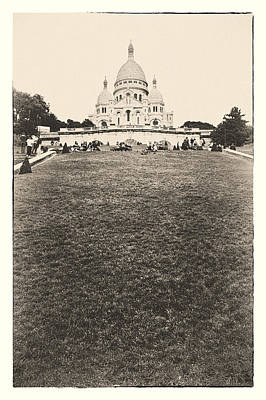 Photograph - Sacre Coeur Basilica Film Effect by Lenny Carter