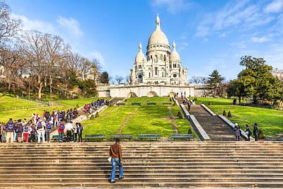 Sacre Coeur Photograph - Sacre Coeur - Basilica Overlooking Paris by Mark E Tisdale