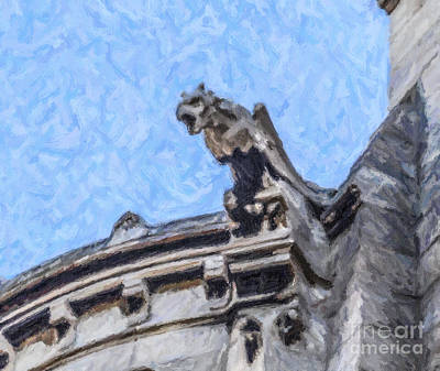 Paris Digital Art - Sacre Coeur Gargoyle by Liz Leyden