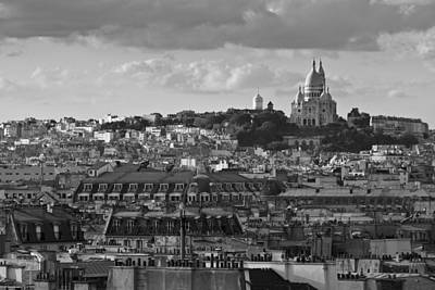Photograph - Sacre Coeur Over Rooftops Black And White Version by Gary Eason