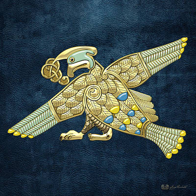Digital Art - Sacred Celtic Bird On Blue by Serge Averbukh