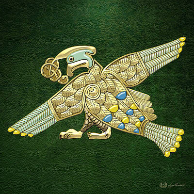 Digital Art - Sacred Celtic Bird On Green by Serge Averbukh