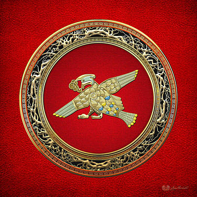 Digital Art - Sacred Celtic Bird On Red by Serge Averbukh
