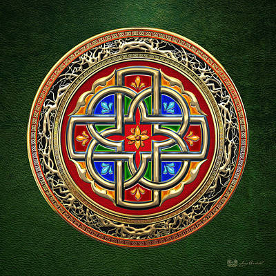 Digital Art - Sacred Celtic Cross On Green by Serge Averbukh