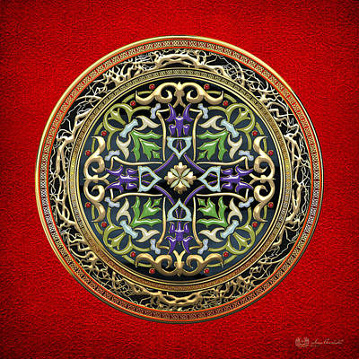 Digital Art - Sacred Celtic Cross On Red by Serge Averbukh