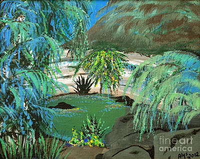Chichen Itza Painting - Sacred Cenote At Chichen Itza by Alys Caviness-Gober
