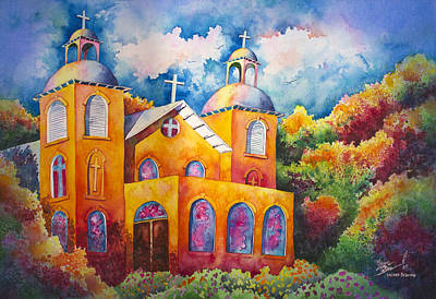 Architectural Landscape Painting - Sacred Evening by Michael Bulloch