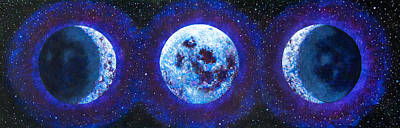 Sacred Feminine Moon Painting - Sacred Feminine Blue Moon by Shelley Irish