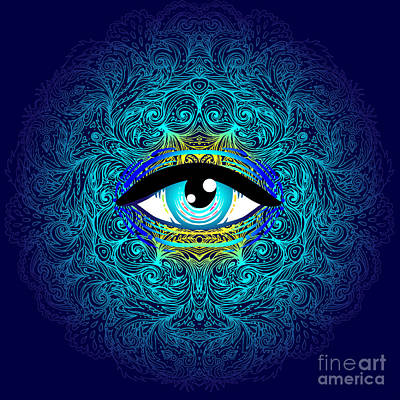 Psychedelic Wall Art - Digital Art - Sacred Geometry Symbol With All Seeing by Gorbash Varvara