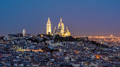 Photograph - Sacred Heart At The Summit Of Montmartre Paris by Pierre Leclerc Photography