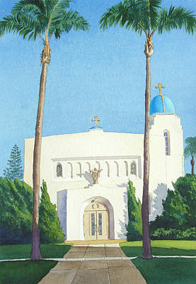 Sacred Painting - Sacred Heart Church Coronado by Mary Helmreich