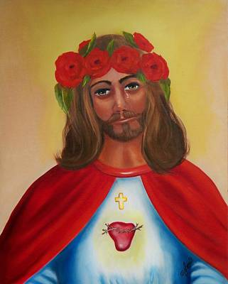 Painting - Sacred Heart- Crown Of Roses by Joni McPherson