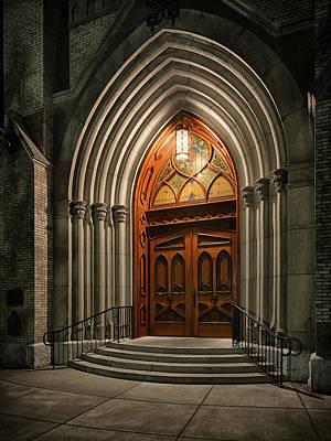 Photograph - Sacred Heart Door by Dennis James