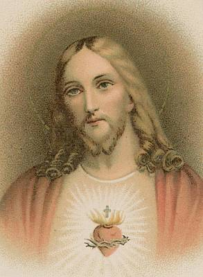 Christian Sacred Painting - Sacred Heart by French School