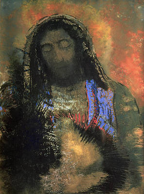 Christian Sacred Painting - Sacred Heart by Odilon Redon