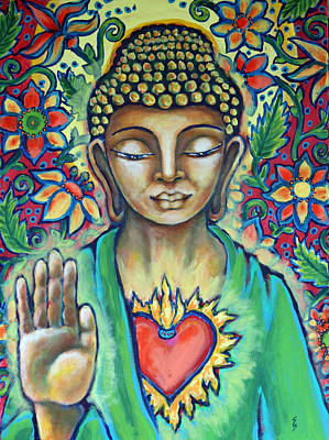 The Void Painting - Sacred Heart Of Buddha by Shelley Bredeson