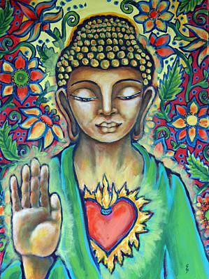 Tibetan Buddhism Painting - Sacred Heart Of Buddha by Shelley Bredeson