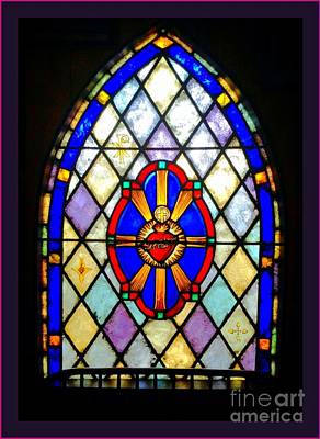 Photograph - Sacred Heart Of Jesus Stain Glass Window by Becky Lupe
